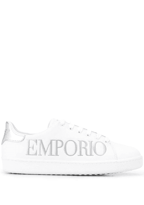 Emporio Armani logo-embossed low top trainers - White