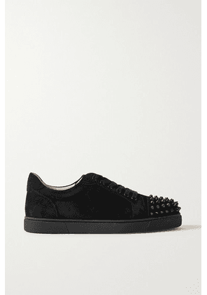 Christian Louboutin - Vieira Spiked Suede Sneakers - Black