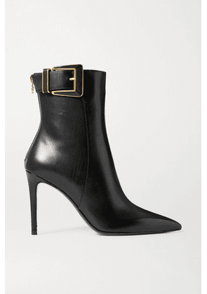 Balmain - Payton Buckled Leather Ankle Boots - Black