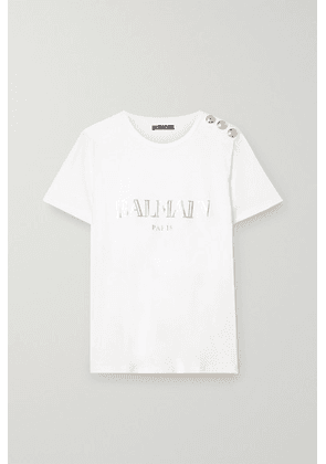 Balmain - Button-embellished Printed Cotton-jersey T-shirt - White