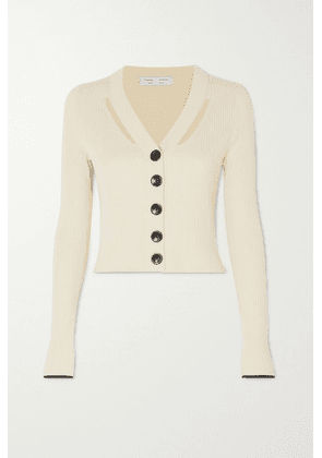 Proenza Schouler White Label - Cutout Ribbed Silk And Cotton-blend Cardigan - Ecru