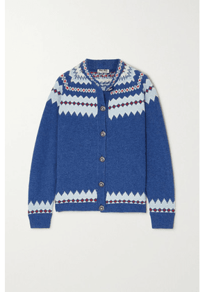 Miu Miu - Fair Isle Wool Cardigan - Blue