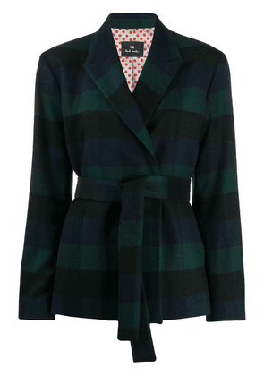 PS Paul Smith checked belted blazer - Blue