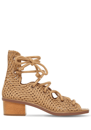 40mm Woven Faux Leather Lace-up Sandals