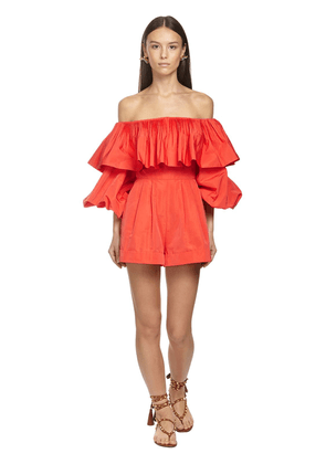 Ruffled Faille Off-the-shoulder Jumpsuit