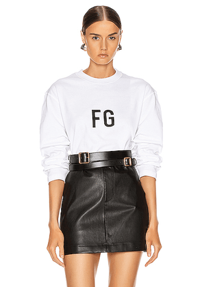 Fear of God Long Sleeve FG Tee in White - White. Size XL (also in ).