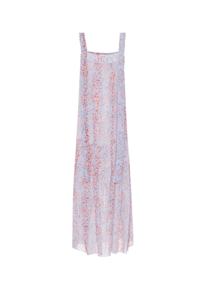 Printed cotton and silk maxi dress