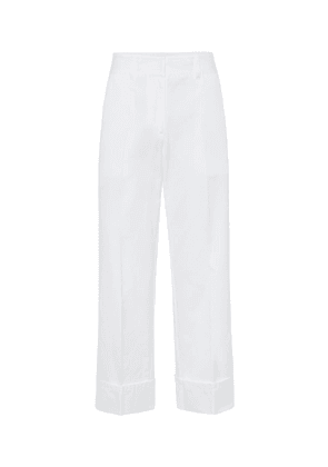High-rise straight cotton pants