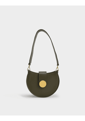 Tambour Bag in Olive Green Leather