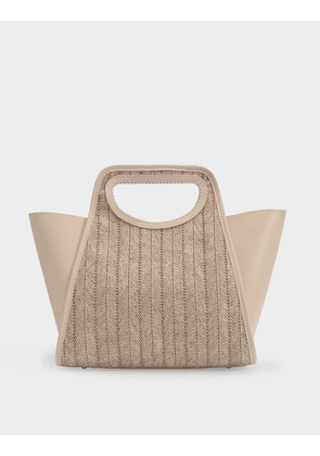 Cupidon Bag in Camel and Beige Raffia and Leather