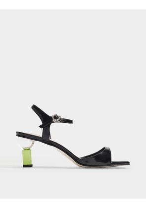 Sora Sandals in Black Leather with Lime Heels