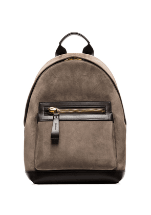Tom Ford leather-trimmed suede backpack - Green