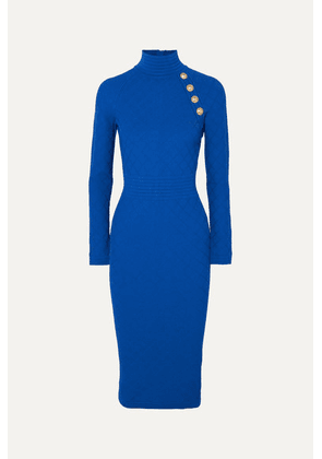 Balmain - Button-embellished Jacquard-knit Midi Dress - Blue