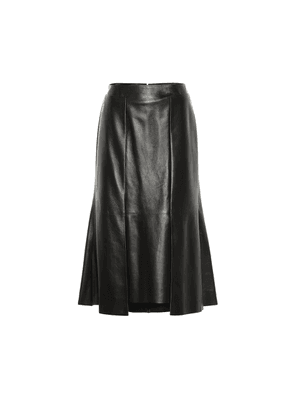 Leather midi skirt