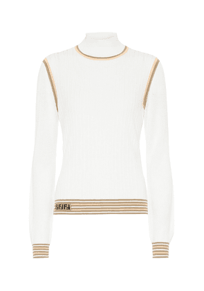 Silk ribbed-knit sweater
