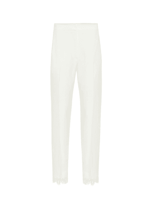Lace-trimmed crêpe cigarette pants