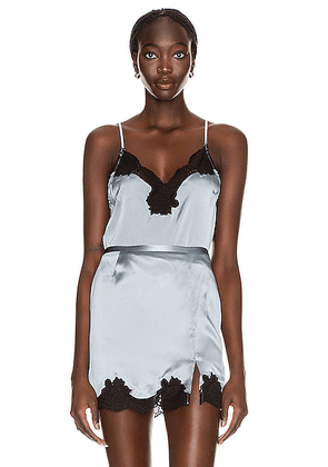 fleur du mal James Lace Trim Cami in Steel Blue - Blue. Size L (also in ).