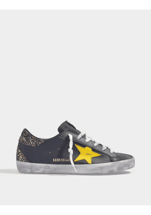 Superstar Sneakers in Black Leather with Glitters and Yellow Star