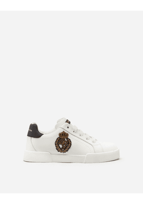 Dolce & Gabbana Shoes - PORTOFINO LIGHT SNEAKERS WITH LOGO PATCH IN FRENCH WIRE WHITE/BLACK