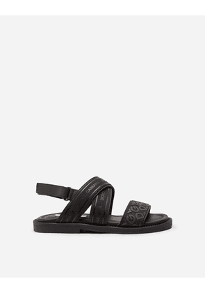 Dolce & Gabbana Shoes - CALFSKIN SANDALS WITH RIBBON LOGO BLACK