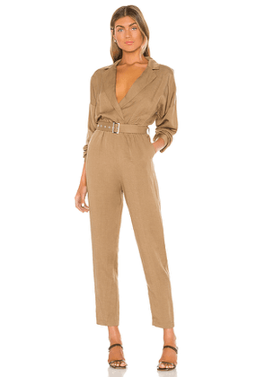 L'Academie Reed Jumpsuit in Taupe,Olive. Size M,S,XL,XS,XXS.