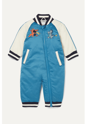 Stella McCartney Kids - Embroidered Striped Satin Onesie - Blue