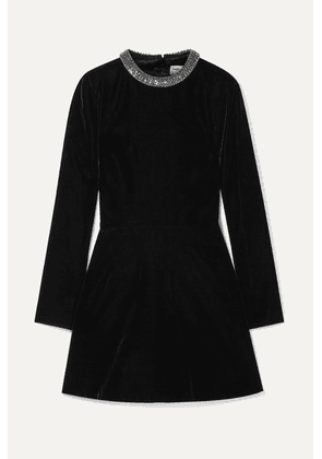 SAINT LAURENT - Cutout Embellished Velvet Mini Dress - Black