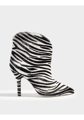 Zebra Ankle Boots in White and Black Pony Skin