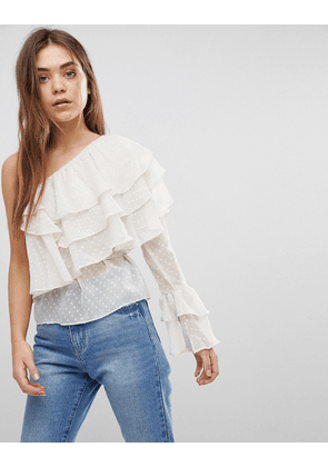 After Market One Shoulder Tiered Ruffle Top-Cream