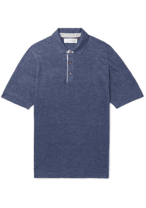 Brunello Cucinelli - Slim-fit Knitted Mélange Linen And Cotton-blend Polo Shirt - Blue