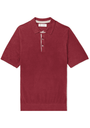 Brunello Cucinelli - Slim-fit Knitted Linen And Cotton-blend Polo Shirt - Burgundy