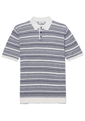 Altea - Striped Linen And Cotton-blend Polo Shirt - Navy