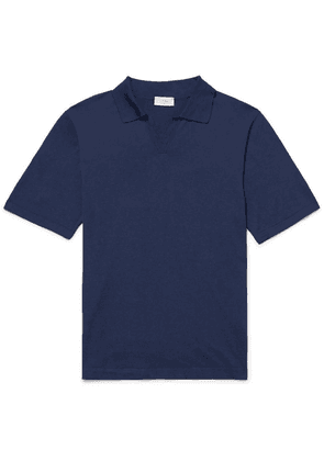 Altea - Slim-fit Silk And Cotton-blend Polo Shirt - Navy