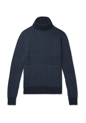 Loro Piana - Houndstooth Cashmere Rollneck Sweater - Navy