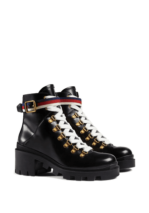 Gucci Leather ankle boot with Sylvie Web - Black