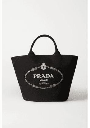 Prada - Leather-trimmed Printed Cotton-canvas Tote - Black