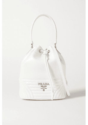 Prada - Diagram Quilted Leather Bucket Bag - White