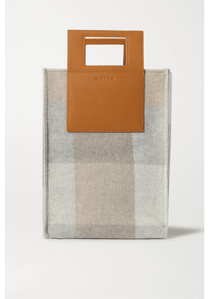 Holzweiler - + Net Sustain Carrybag Large Leather-trimmed Checked Wool And Cashmere-blend Tote - Camel