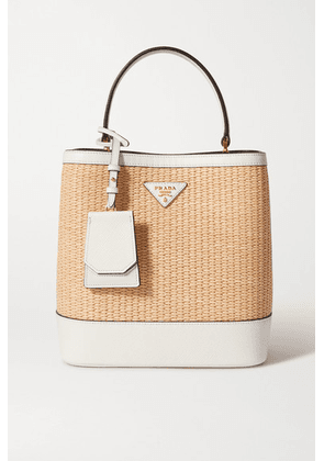 Prada - Panier Small Textured Leather-trimmed Straw Tote - White