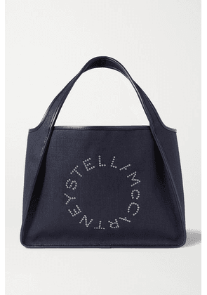 Stella McCartney - Eyelet-embellished Faux Leather-trimmed Linen-canvas Tote - Navy