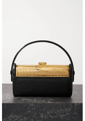 Bienen-Davis - Régine Textured Patent-leather And Gold-dipped Tote - Black
