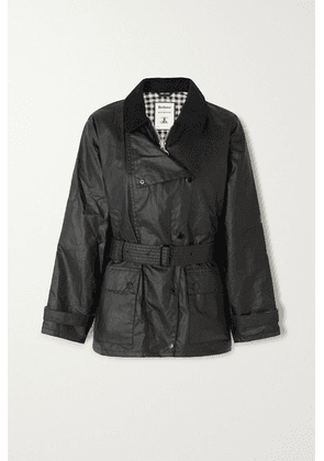 Barbour - + Alexachung Agatha Belted Corduroy-trimmed Waxed Cotton Jacket - Black