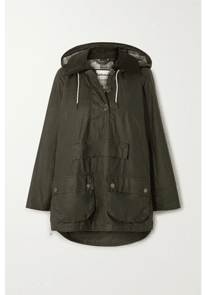 Barbour - + Alexachung Coco Oversized Hooded Corduroy-trimmed Waxed-cotton Poncho - Dark green