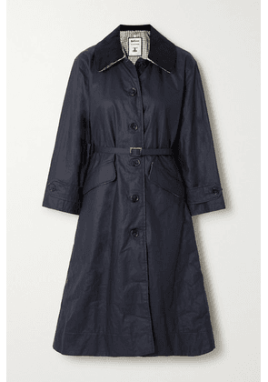 Barbour - + Alexachung Mildred Corduroy-trimmed Waxed Linen And Cotton-blend Trench Coat - Navy