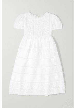 LoveShackFancy Kids - Holly Crochet-paneled Cotton-voile Dress - White