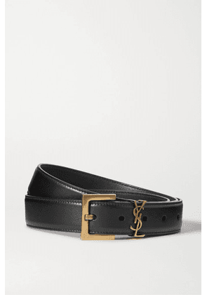 SAINT LAURENT - Embellished Leather Belt - Black
