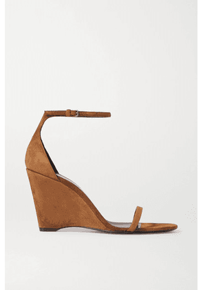 SAINT LAURENT - Bianca Suede Wedge Sandals - Tan