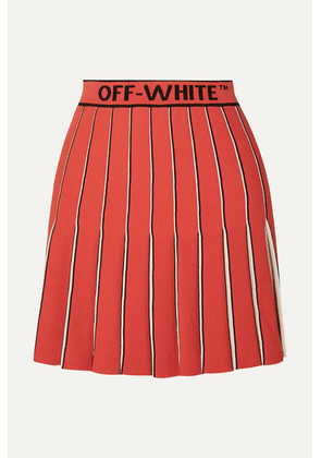 Off-White - Pleated Knitted Mini Skirt - Red