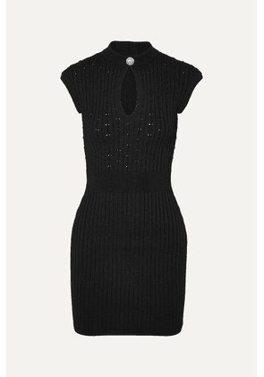 Balmain - Button-embellished Ribbed Pointelle-knit Mini Dress - Black