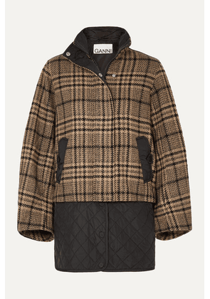 GANNI - Convertible Checked Wool-blend And Quilted Shell Jacket - Black